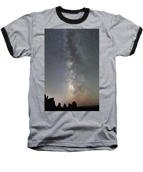 Milky Way Over Arches Np Two Baseball T-Shirt