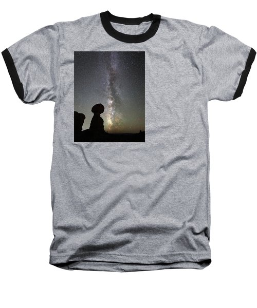 Milky Way Over Arches Np Three Baseball T-Shirt