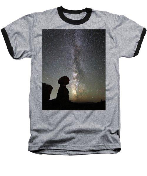 Milky Way Over Balanced Rock Baseball T-Shirt