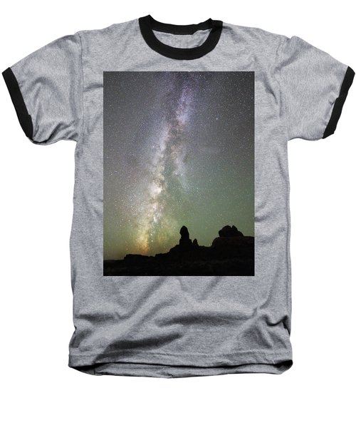 Milky Way Over Arches Np Four Baseball T-Shirt