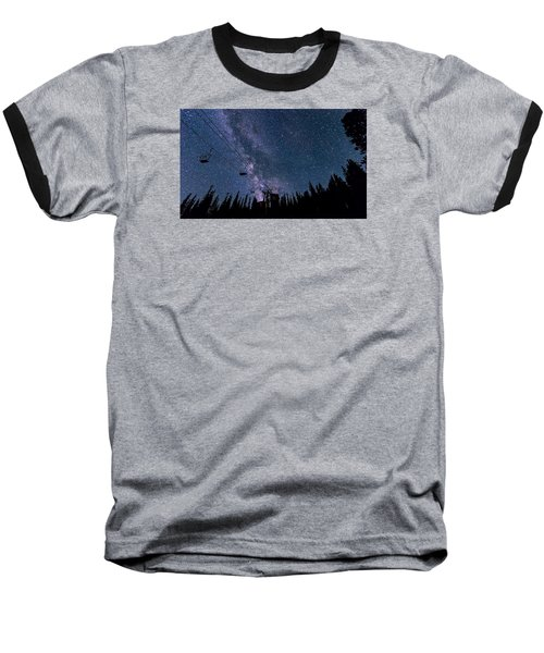 Milky Way Over Chairlift Baseball T-Shirt by Michael J Bauer