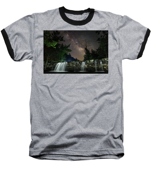 Milky Way Over Falling Waters Baseball T-Shirt