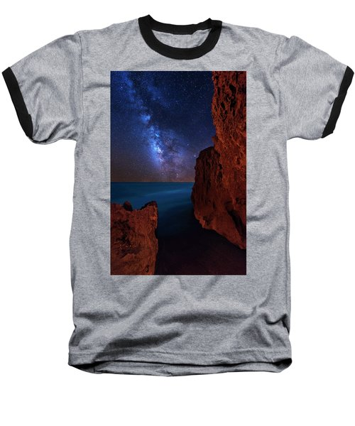 Milky Way Over Huchinson Island Beach Florida Baseball T-Shirt by Justin Kelefas