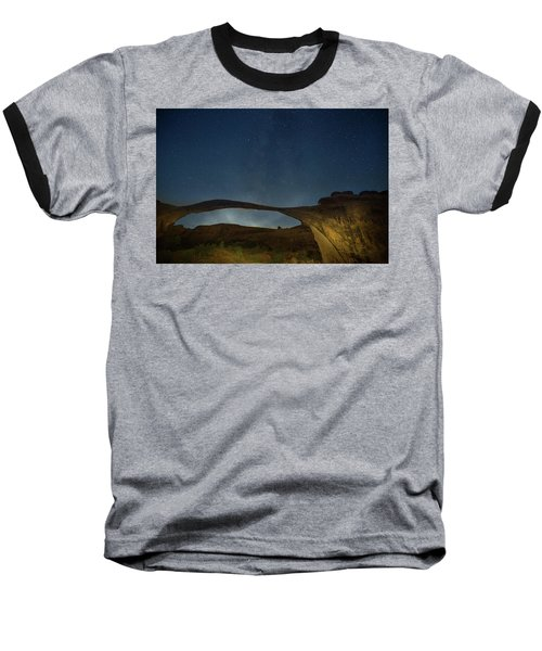 Milky Way Over Landscape Arch Baseball T-Shirt