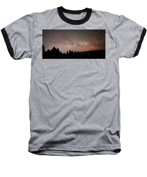 Milky Way Over Mammoth Hot Springs With Pink Glow From Aurora Borealis Baseball T-Shirt