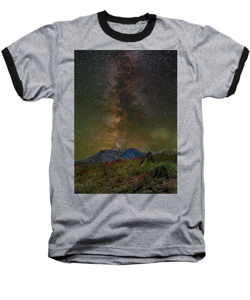 Milky Way Over Mount St Helens Baseball T-Shirt