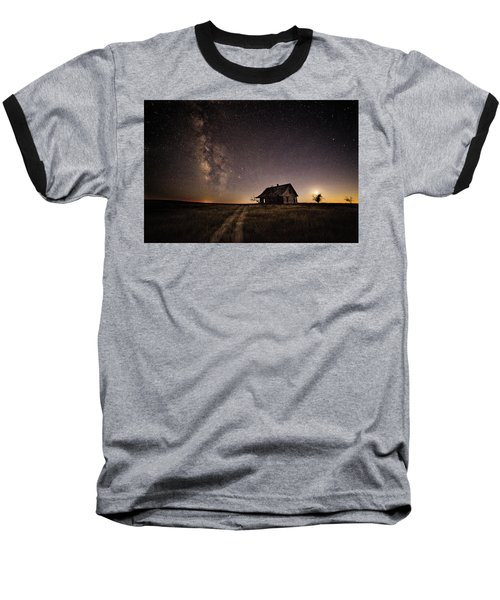 Milky Way Over Prairie House Baseball T-Shirt by Kristal Kraft