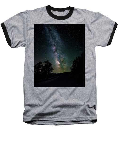 Milky Way Over Rocky Mountains Baseball T-Shirt