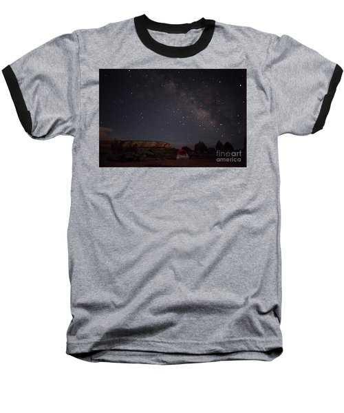 Milky Way Over White Pocket Campground Baseball T-Shirt by Anne Rodkin