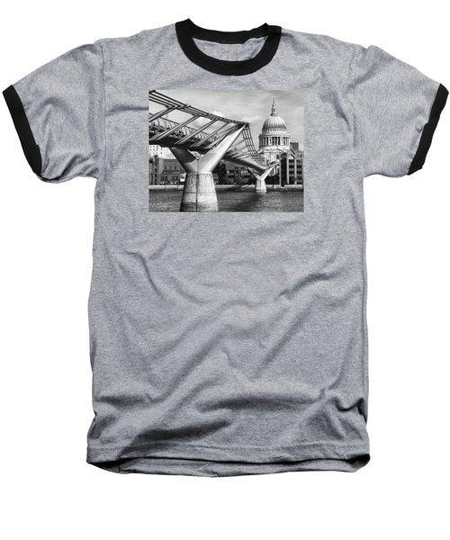 Millennium Footbridge Baseball T-Shirt by Shirley Mitchell