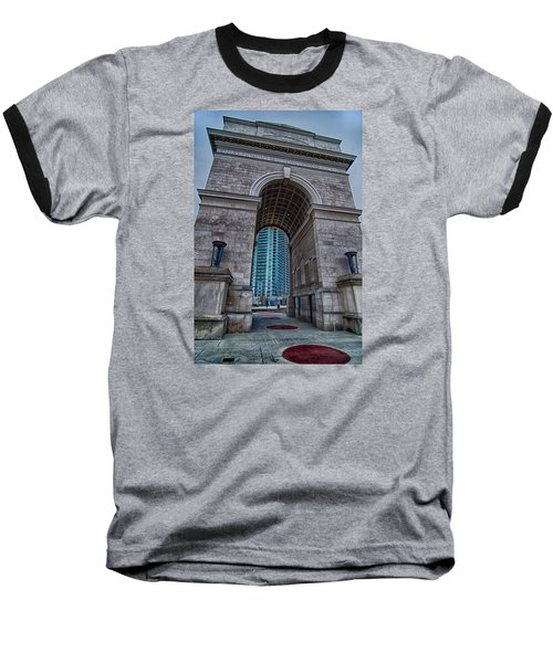 Millennium Gate Triumphal Arch At Atlantic Station In Midtown At Baseball T-Shirt by Alex Grichenko