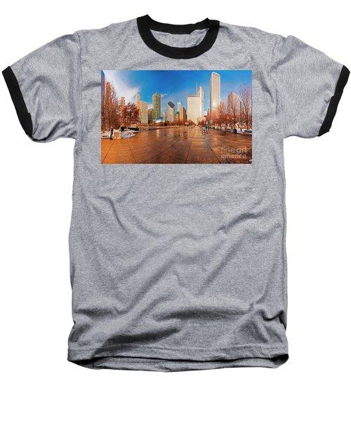 Millennium Park Skyline And The Bean  Baseball T-Shirt