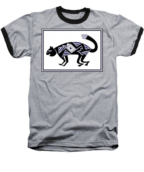 Baseball T-Shirt featuring the digital art Mimbres Mountain Lion by Vagabond Folk Art - Virginia Vivier