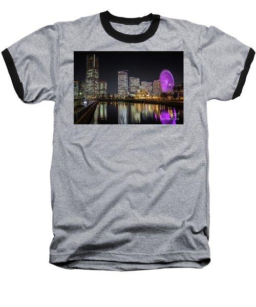 Minato Mirai At Night Baseball T-Shirt