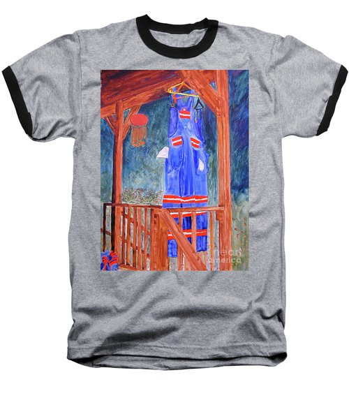 Baseball T-Shirt featuring the painting Miner's Overalls by Sandy McIntire