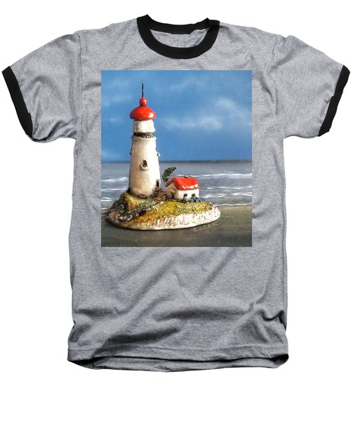 Miniature Lighthouse Baseball T-Shirt by Wendy McKennon