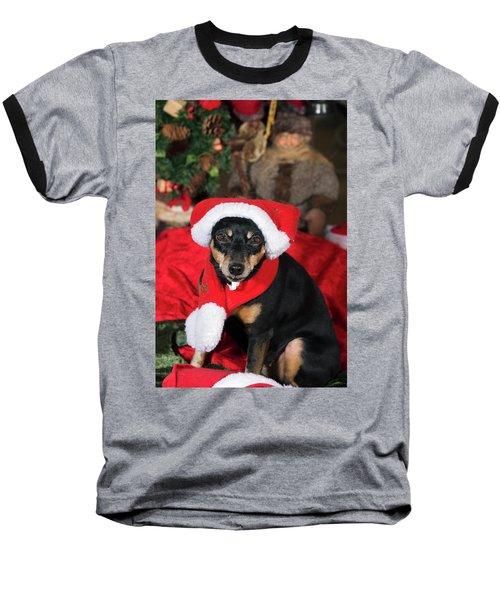 Miniature Pinscher Wishing A Merry Christmas Baseball T-Shirt