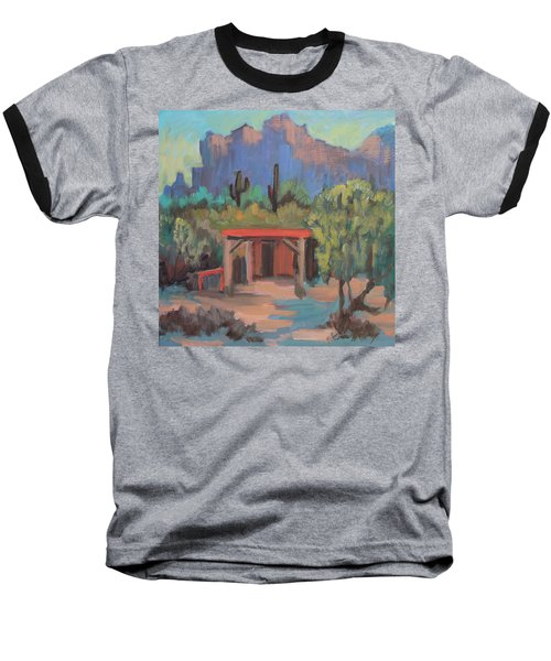 Baseball T-Shirt featuring the painting Mining Camp At Superstition Mountain Museum by Diane McClary