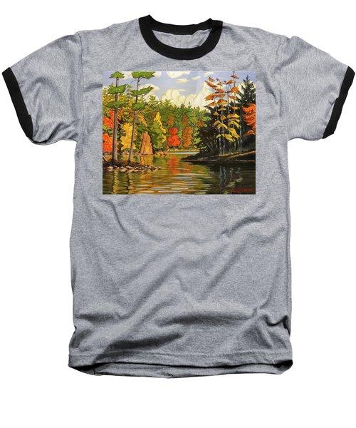 Mink Lake Narrows Baseball T-Shirt by David Gilmore