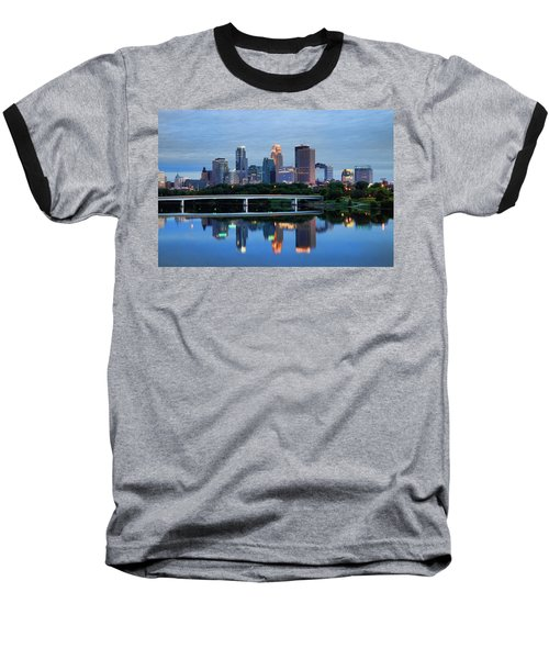 Minneapolis Reflections Baseball T-Shirt by Rick Berk