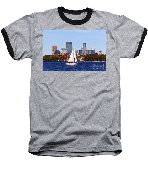 Minneapolis Skyline Lake Calhoun Sailing Baseball T-Shirt
