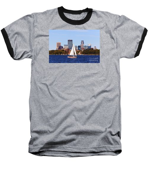 Minneapolis Skyline Lake Calhoun Sailing Baseball T-Shirt