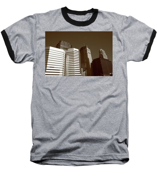 Baseball T-Shirt featuring the photograph Minneapolis Skyscrapers 5 Sepia by Frank Romeo