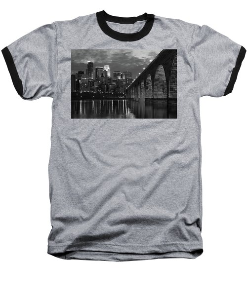 Minneapolis Stone Arch Bridge Bw Baseball T-Shirt