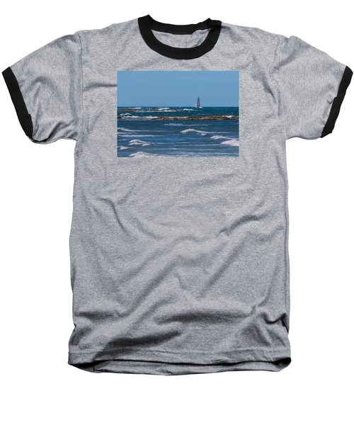 Minot Lighthouse Wave Crash Baseball T-Shirt by Brian MacLean