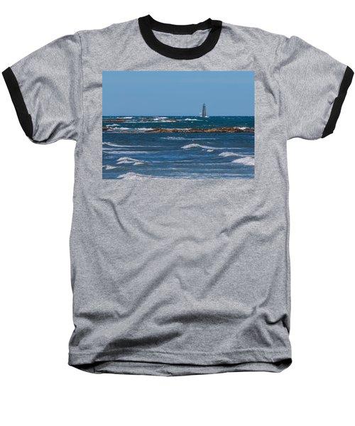 Minot Lighthouse Wave Crash Baseball T-Shirt