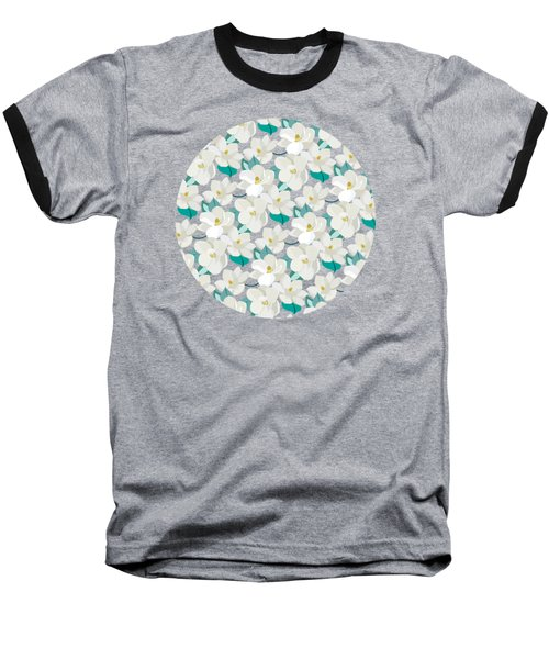 Mint Magnolias Baseball T-Shirt