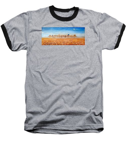 Baseball T-Shirt featuring the painting Mirage City by Arturas Slapsys