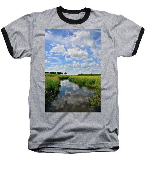 Mirror Image Of Clouds In Glacial Park Wetland Baseball T-Shirt