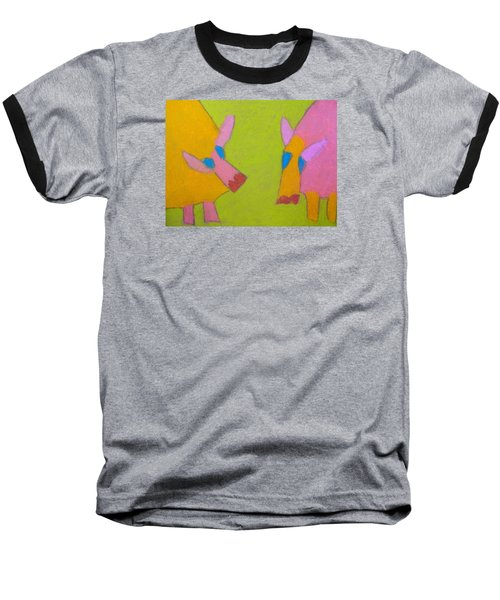 Baseball T-Shirt featuring the pastel Mischievous Pigs by Artists With Autism Inc