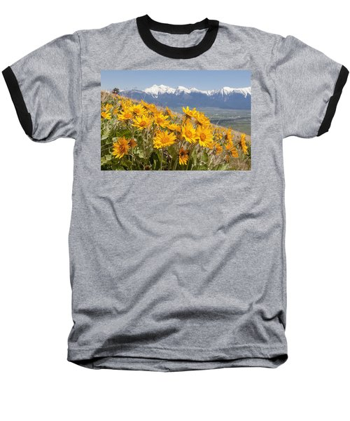 Mission Mountain Balsam Blooms Baseball T-Shirt by Jack Bell