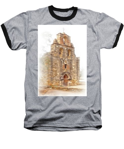 Baseball T-Shirt featuring the photograph Mission San Francisco De La Espada In Faux Pencil Drawing  by David and Carol Kelly