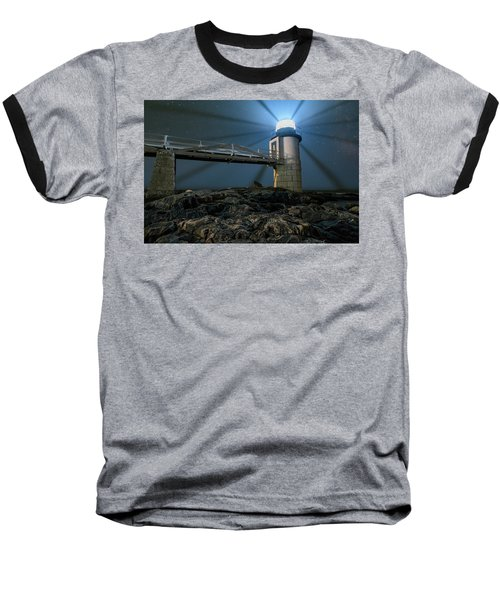 Mist At Marshall Point Light Baseball T-Shirt