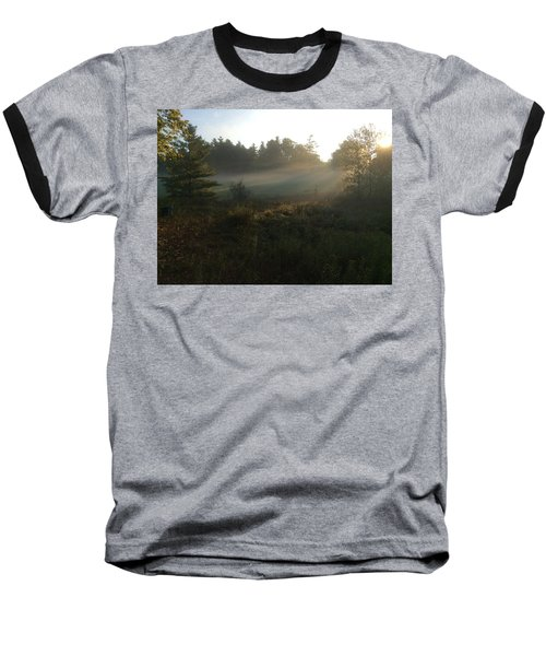 Mist In The Meadow Baseball T-Shirt by Pat Purdy