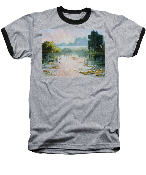 Mist Over Water Lilies Pond Baseball T-Shirt by Irek Szelag