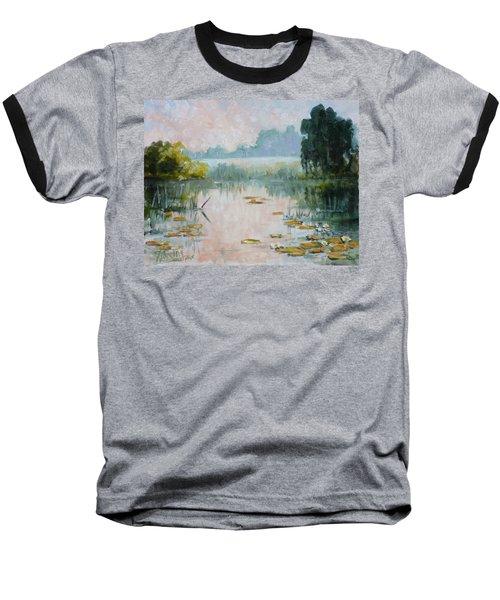 Mist Over Water Lilies Pond Baseball T-Shirt