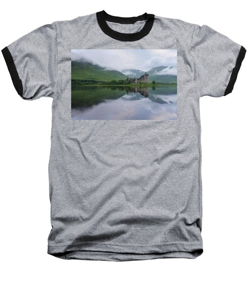 Mist Swarms Around Kilchurn Castle Baseball T-Shirt