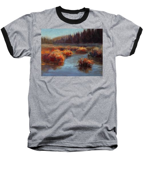 Baseball T-Shirt featuring the painting Misty Autumn Meadow With Creek And Grass - Landscape Painting From Alaska by Karen Whitworth