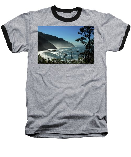 Misty Coast At Heceta Head Baseball T-Shirt by James Eddy