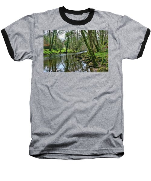 Misty Day On River Teign - P4a16017 Baseball T-Shirt