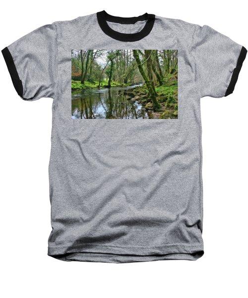 Misty Day On River Teign - P4a16017 Baseball T-Shirt
