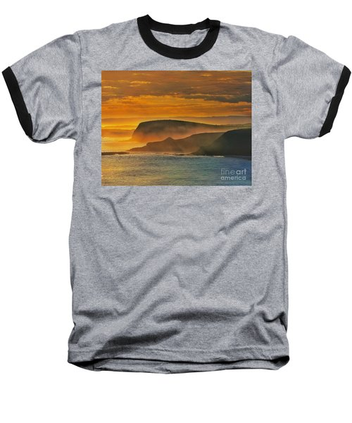 Misty Island Sunset Baseball T-Shirt