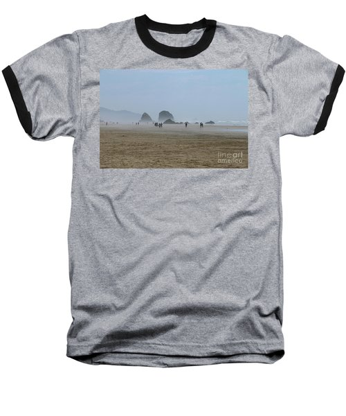 Misty Morning At Cannon Beach Baseball T-Shirt by Christiane Schulze Art And Photography