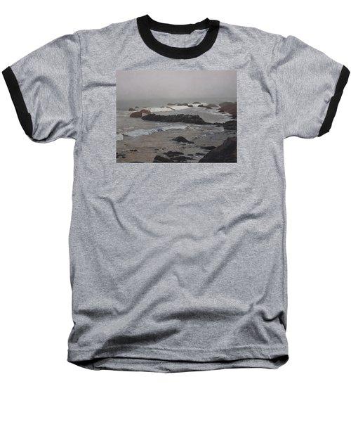 Misty Morning At Ragged Point, California Baseball T-Shirt by Barbara Barber