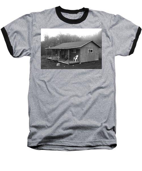 Misty Morning At The Cabin Baseball T-Shirt
