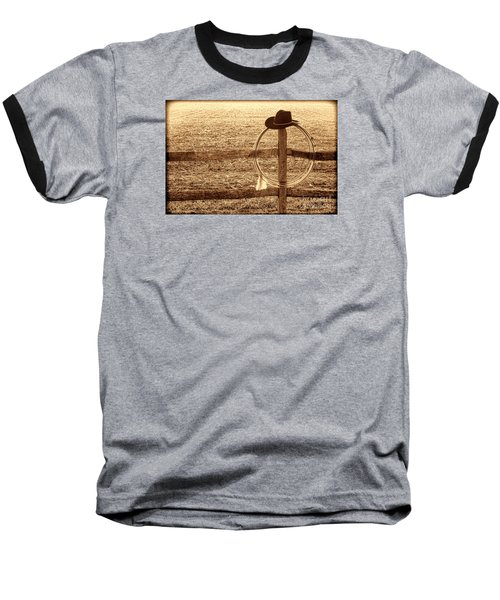 Misty Morning At The Ranch Baseball T-Shirt by American West Legend By Olivier Le Queinec